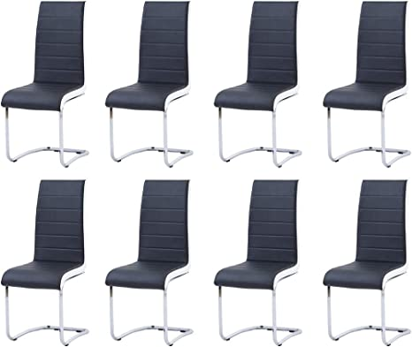 Amazon Com Modern Dining Chairs Set Of 8 Black White Side Dining Room Chairs Kitchen Chairs With Faux Leather Padded Seat High Back And Sturdy Chrome Legs Chairs For Dining Room Kitchen