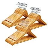 Qualsen Wooden Hangers, 30 Pack Non Slip Wood Coat Suit Clothes Clothing Hanger