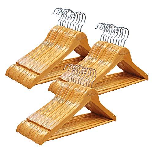 Qualsen Kleiderbügel Holz, 30 Stück rutschfest bügel Holz für Anzug, Kleider, Kleidung, Mäntel, Natur