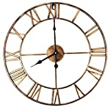 Decorative Wall Clock, Eruner 18.5 Inch Oversized 3D Vintage Metal Clock with Roman Numerals Large Dial Non-Ticking Home Kitchen Living Room Restaurant Cafe Bar Decoration Gold