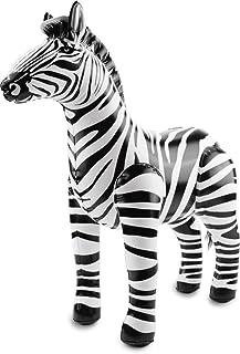 Folat 20273 uppblåsbar zebra svart-vit, en storlek passar de flesta