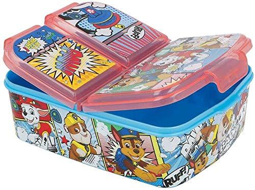 CM Sandwichera con 3 Compartimentos para niños - lonchera Infantil - Porta merienda - Fiambrera Decorada (Rojo-Pat)