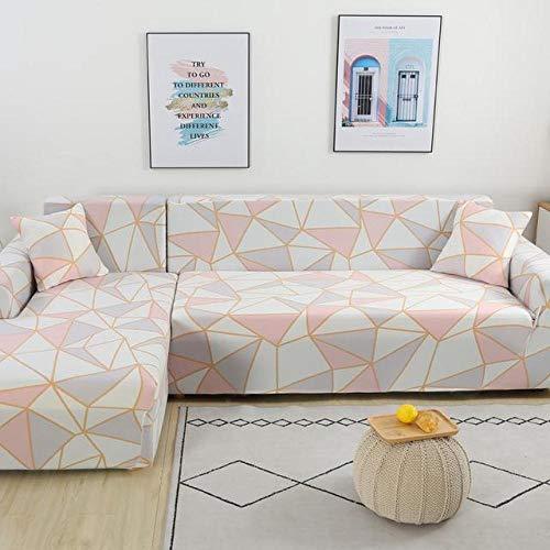 Nannan Funda de sofá Chaise Longue en Forma de L Juego de sofás de 1/2/3/4 Asientos Juego de sofás para Mascotas para Sala de Estar Funda de sofá Chaise Longue en Forma de L-Rosa_3 plazas 190-230cm