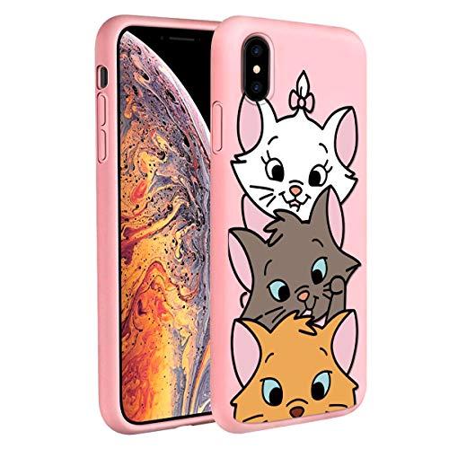 ZhuoFan Carcasa OPPO A5 / A9 2020 / A11x, funda de silicona rosa ultra fina TPU suave con dibujos 3D de dibujos animados antigolpes, antigolpes para OPPO A5 / A9 2020 / A11x, 3 Cat