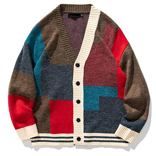 Men's Cardigan Sweater Japanese Retro Knitted Sweater Patchwork Fashion V-Neck Sweatercoat