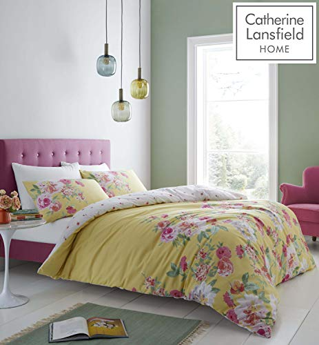 Catherine Lansfield Lille Floral Easy Care King Duvet Set Yellow