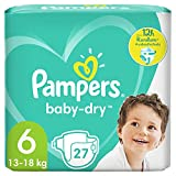 Pampers Baby-Dry Größe 6, 27 Windeln, bis zu 12Stunden Rundumschutz, 13-18kg