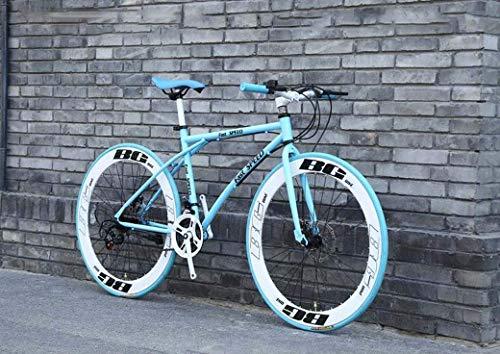 ZHTY Rennräder für Herren und Damen, 26-Zoll-24-Gang-Fahrräder, nur für Erwachsene, Rahmen aus kohlenstoffhaltigem Stahl, Rennradrennen, Doppelscheiben-Bremsräder mit Rädern, Mountainbike