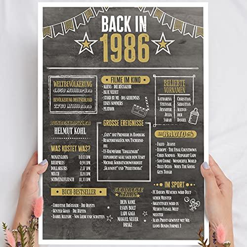 Geschenk 35 Geburtstag - Back in 1986 Holzbild - personalisierbar zum Hinstellen/Aufhängen optional beleuchtet, 35 Geburtstag Frauen & Männer - Wand-Bild Aufsteller Deko - persönliches Geschenk