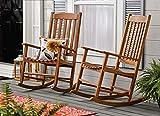 Set of 2 Natural Brown Finish Farmhouse Porch Rocker Outdoor Wood Rocking Chair Patio Lawn Garden Furniture
