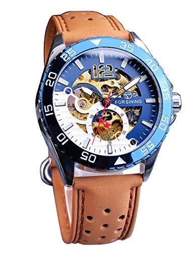 Forsining - Reloj de pulsera automático para hombre, color azul