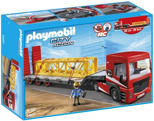 Playmobil Construcción - Camión de mercancía Pesada, Juguete Educativo, Gris, Rojo, Amarillo, 50 x 15 x 35 cm, (5467)