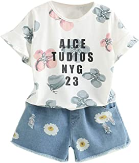 pollyhb Baby Outfits Fashion Girls Set Letters Print T-Shirt Flower Denim Shorts 2-Piece for Leisure