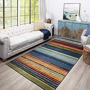 Mohawk Home New Wave Rainbow Stripe Area Rug, 6′ x 9′, Multi