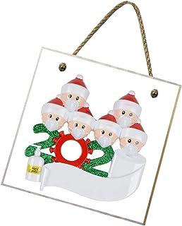 BESTOMZ クリスマス木製飾りキット2020検疫サバイバー6人家族クリスマス飾りキットクリエイティブギフトクリスマスツリー吊り飾り