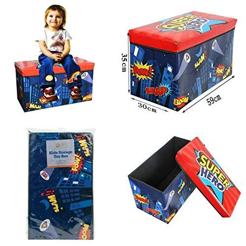 FunkyBuys Pieghevole per bambini Room Tidy Toy Storage box con coperchio cassettiera Organizer panca imbottita Super Hero