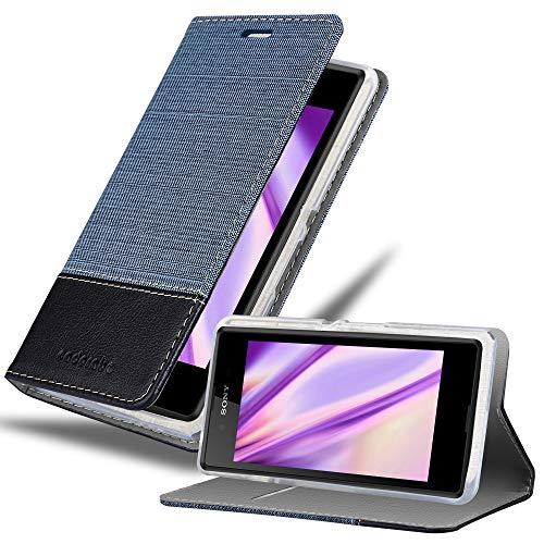 Cadorabo Hülle für Sony Xperia E3 in DUNKEL BLAU SCHWARZ - Handyhülle mit Magnetverschluss, Standfunktion & Kartenfach - Hülle Cover Schutzhülle Etui Tasche Book Klapp Style