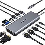MOKiN USB C Docking Station, 14 in 1 USB C Adapter zu Dual 4K HDMI(nur für DP1.4), Gigabit Ethernet, USB 3.0/2.0, 100W PD, 5Gbps USB-C Port, SD/TF Kartenleser für Lenovo Yoga 920, Dell XPS 13/15, usw.
