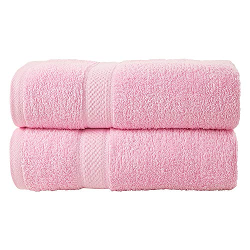 Cotton Large Hand Towels Hand Gym and Spa By Egypto - Multipurpose Use for Bath Rose Pink, 20 x 33 inches Pack of 2 Face