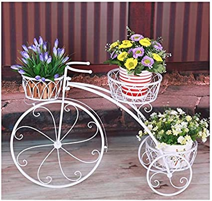 GRY Soporte de flores de bicicletas de hierro multicapa