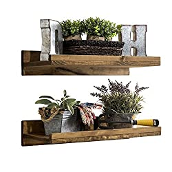 Del Hutson Designs Rustic Luxe Wooden Floating Shelves (Set of 2) (Walnut)