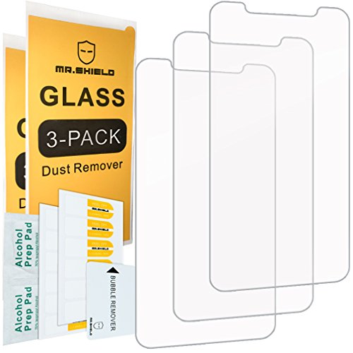 [3-PACK]- Mr.Shield Designed For iPhone X iPhone XS iPhone 10 [Tempered Glass] Screen Protector [0.3mm Ultra Thin 9H Hardness 2.5D Round Edge] with Lifetime Replacement