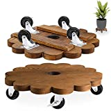 MIXC Plant Caddy, 12 Inch Plant Stand with Wheels, Indoor Round Wood Rolling Plant Dolly, 2 Pack