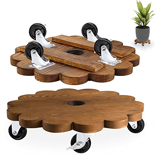 MIXC Indoor Round Wood Rolling Plant Dolly