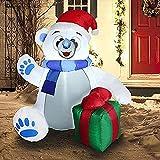 Oso polar inflable de Navidad con luz LED, decoración de patio gigante inflable para fiestas de Navidad, interior/exterior, jardín, suministros para fiestas, decoración.