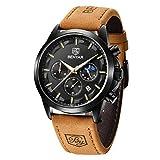 BENYAR - 男性のためのクロノグラフ腕時計、トクォーツムーブメント、防水とスクラッチ耐性、メンズシンプルファッションウォッチ、男性のためのギフト