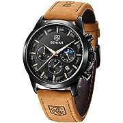 BENYAR Men's Watches Waterproof Sport Military Watch for Men Multifunction Chronograph Black Fashion Quartz Wristwatches Calendar with Leather Strap