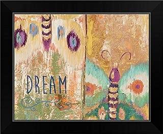CANVAS ON DEMAND Ikat Flutter Dream Black Framed Art Print, 17