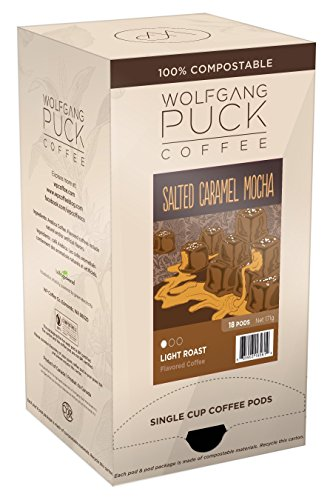 Wolfgang Puck Coffee, Salted Caramel Mocha Coffee, 9.5 Gram Pods, 18 Count