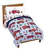 Jay Franco Trend Collector Go Fire Truck Go 4 Piece Toddler Bed Set - Includes Comforter & Sheet Set - Super Soft Fade Resistant Microfiber Bedding
