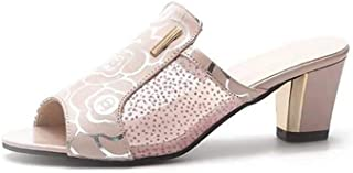 Cosplay-X Women's Slip-On Peep Toe Sandals Summer Backless Chunky Stacked Block Heel Mule with Rhinestone
