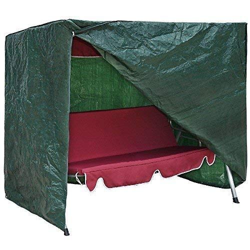 garden mile Heavy Duty Green Weatherproof Garden 3 Seater Swing Seat Hammock Furniture Covers UV Protected Secure Drawstring.