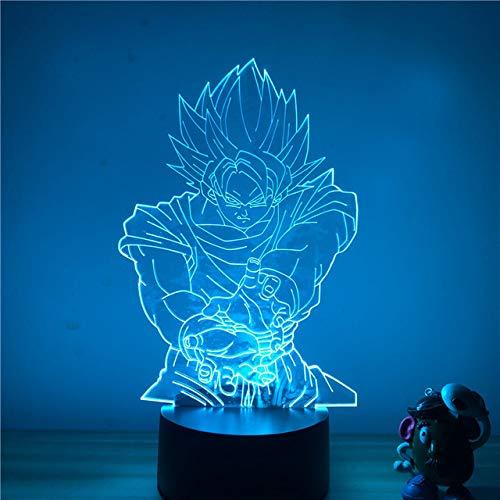 Luz de noche LED 3D Dragon Ball Z Vegeta Super figura de acción 7 colores táctil ilusión óptica lámpara de mesa modelo de decoración del hogar