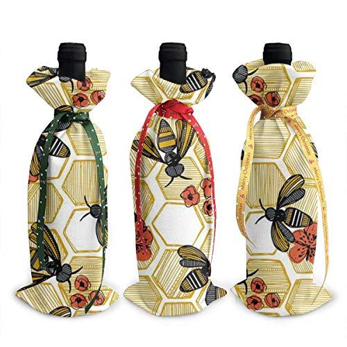3 x Honigbienenenmotiv, sechseckig, für Weinflaschen, Geschirr zur Dekoration