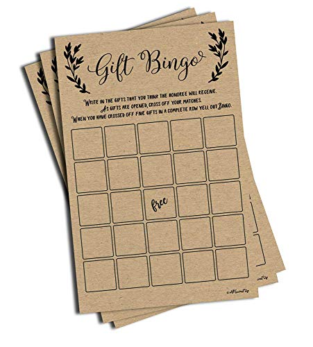 50 Gift Bingo Bridal or Baby Shower Game Kraft Rustic Wedding Bridal Shower Engagement Bachelorette Anniversary Party Game Ideas Bulk Vintage Blank Squares to Fill in Gift Ideas (Large Sheet Size)