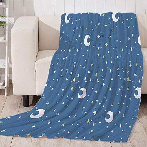 Luna Azul Manta Reversible de Franela & Sherpa , Manta de Felpa Suave para Sofá Cama, Microfibra Manta de para sofá Cama 100x130cm