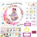 """Milestone Blanket for Baby Girl, Kmivo Baby Monthly Photo Blankets Soft Large Memory Blanket with Headband & Milestone Cards for Newborn Baby Shower, 60"""" x 40"""""""