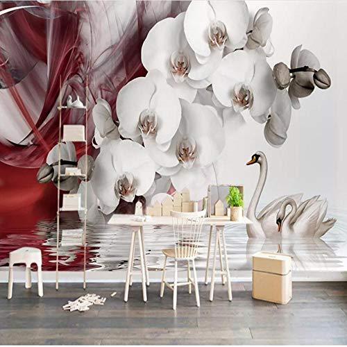 Fotobehang op maat 3D niet-geweven stof milieuvriendelijk en duurzaam behang muursticker-wit reliëf bloem en witte zwaan 450(w)x300(H)cm