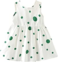 Youmymine Toddler Kid Baby Girls Sleeveless Dresses Fashion Dot Print Bow Casual Princess Party Sundress Dress