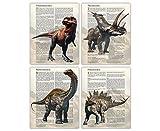 Dinosaur Poster Wall Art Prints: Set of 4 8x10 Unframed Dinosaur Room Decor For Boys, Girls, Men and Women - Educational Gift Idea for Dinosaur Decor Enthusiasts