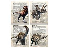 2. Buzz Unplugged Store Dinosaur Poster Wall Art Prints (Set of 4)