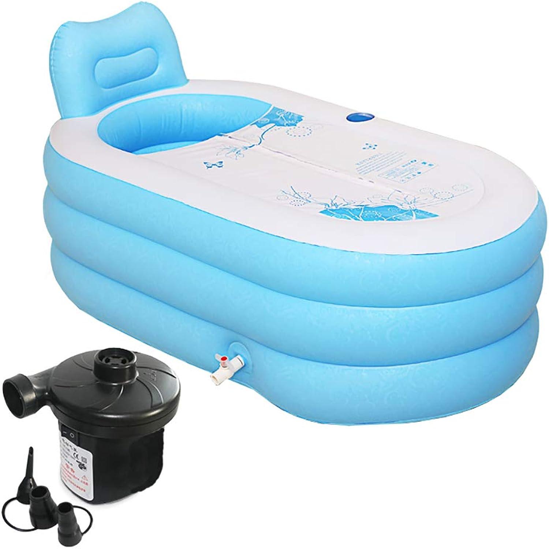 Adult bathtub Aufblasbare Badewanne tragbare zusammenklappbare Erwachsenen SPA mit elektrischer Luftpumpe Kunststoff 150  88cm für Innen-Badezimmer, freistehende Badewanne (blau)