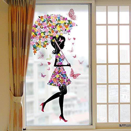 HBOS Schälen und Stock Statisch Haftenden Fensterglas Matt Film Selbstklebende Abnehmbare Aufkleber Blume Mädchen Wandbild Dekoration für Bad Dusch Tür