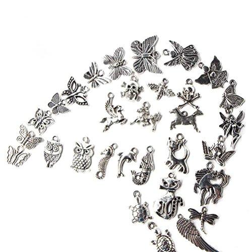Yosoo 100er Schmuckanhänger Mischform Zinklegierung Anhänger Bastelmaterial für Handarbeit Bastelarbeit Armband Halskette Schmuckherstellung Schmuckzubehör Set