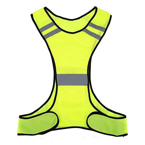 Reflektierende Weste - High Visibility Reflektierende Jacke Sicherheitsweste Laufausrüstung für Nacht Jogging Jogging Radfahren Walking (Color : Yellow)