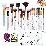 Set de brochas de maquillaje profesional Ruesious 15 piezas Pinceles de maquillaje Set Premium Synthetic Foundation Brush Blending Face Powder Blush Concealers Kit de pinceles